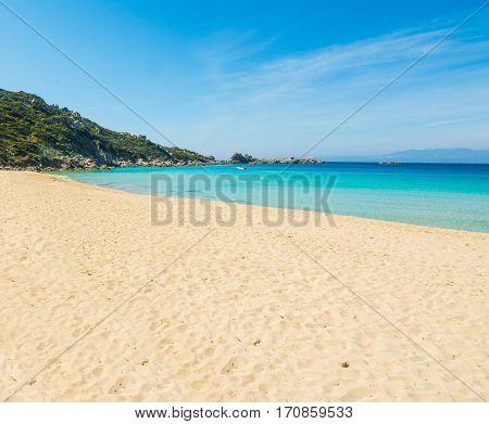 Turquoise water in Rena Bianca in Sardinia