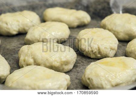 dough preform for baking in baking closeup