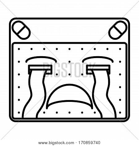 simple thin line loudly crying face icon vector