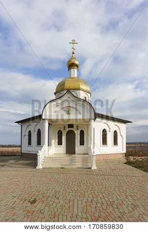 TAMAN  RUSSIA - January 04.2017: the entrance to the Church-chapel of the Holy righteous Theodore Ushakov Sunny winter day