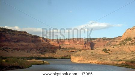 Colorado River in Ruby Canyon from the window of Amtrak, modified in PhotoShop poster