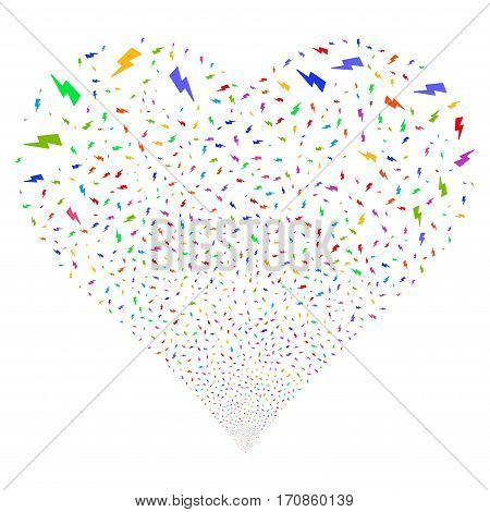 Electric Strike fireworks with heart shape. Vector illustration style is flat bright multicolored iconic symbols on a white background. Object valentine heart organized from scattered pictograms.