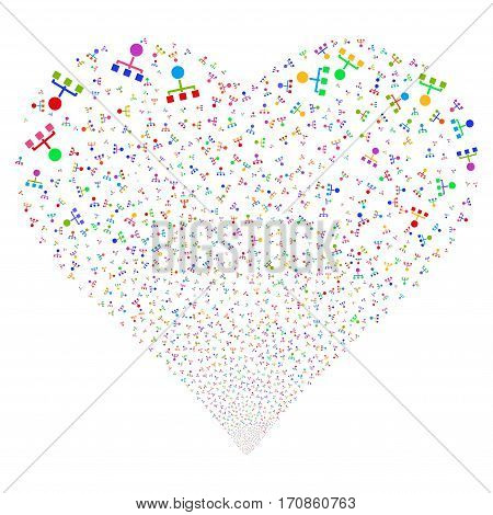 Hierarchy fireworks with heart shape. Vector illustration style is flat bright multicolored iconic symbols on a white background. Object heart constructed from scattered symbols.