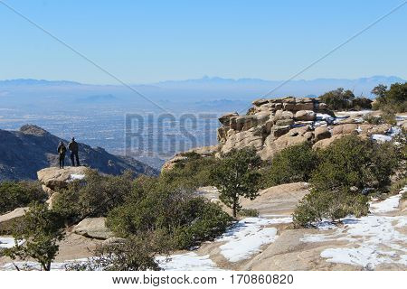 Santa Catalina mountains with rocks and hazy background