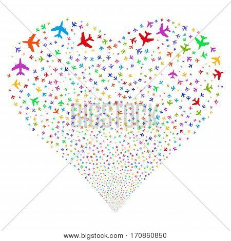 Jet Plane fireworks with heart shape. Vector illustration style is flat bright multicolored iconic symbols on a white background. Object heart made from scattered icons.