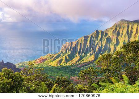 Amazing view of Kalalau Valley and Na Pali coast, Kauai island, Hawaii