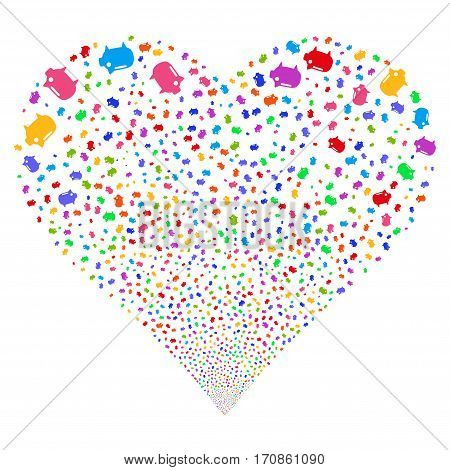 Piggy Bank fireworks with heart shape. Vector illustration style is flat bright multicolored iconic symbols on a white background. Object heart organized from confetti pictograms.