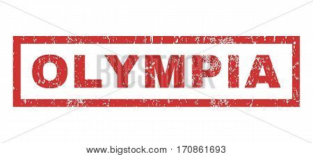 Olympia text rubber seal stamp watermark. Tag inside rectangular banner with grunge design and unclean texture. Horizontal vector red ink sign on a white background.