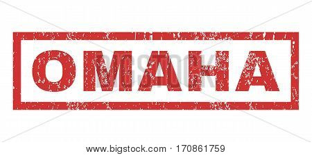 Omaha text rubber seal stamp watermark. Tag inside rectangular banner with grunge design and dirty texture. Horizontal vector red ink emblem on a white background.