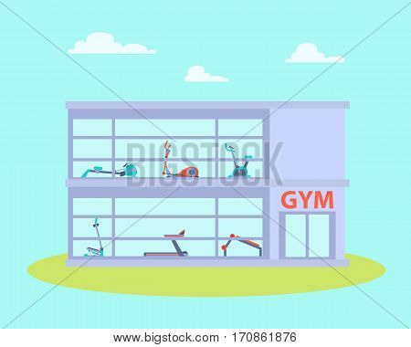 Gym building with equipment. Flat design. Vector illustration