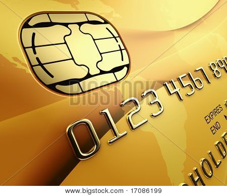 3d rendering of a gold credit card