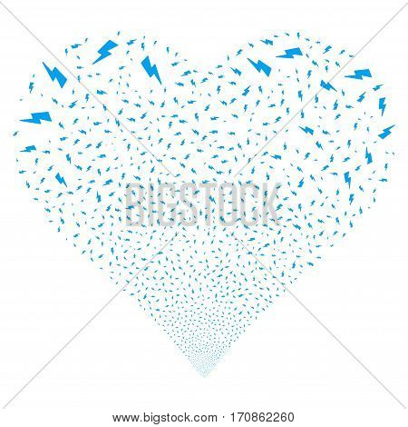 Electric Strike fireworks with heart shape. Vector illustration style is flat blue iconic symbols on a white background. Object heart organized from scattered pictographs.