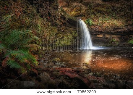 Lady Falls Sgwd Gwladus waterfall The river Afon Pyrddin near Pontneddfechan, South Wales, known as Waterfall Country