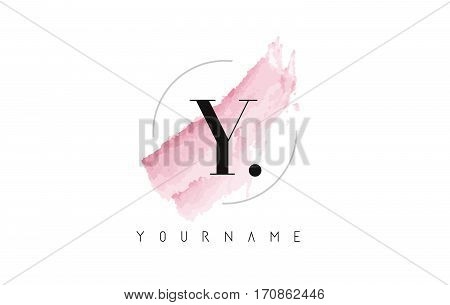 Y Letter Logo with Watercolor Pastel Aquarella Brush Stroke and Circular Rounded Design.
