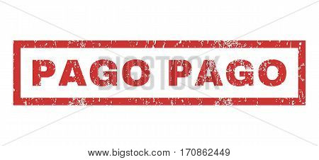 Pago text rubber seal stamp watermark. Caption inside rectangular banner with grunge design and dirty texture. Horizontal vector red ink emblem on a white background.