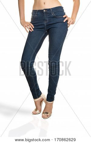 woman wearing jeans Front View high quality and high resolution studio shoot