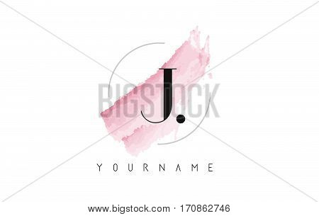 J Letter Logo with Watercolor Pastel Aquarella Brush Stroke and Circular Rounded Design.