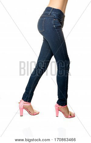 woman wearing jeans Side view high quality and high resolution studio shoot