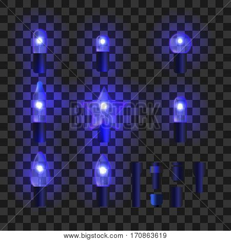 Set of blue shining garland lights with holders isolated on transparent background. Christmas, New Year party decoration realistic design elements. Glowing lights for Xmas. Holiday greeting design.