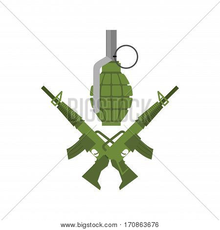 Military Emblem. Army Logo. Crossed Rifles And Grenade. Gun And Ammo