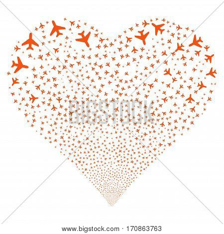 Air Plane fireworks with heart shape. Vector illustration style is flat orange iconic symbols on a white background. Object valentine heart combined from random icons.