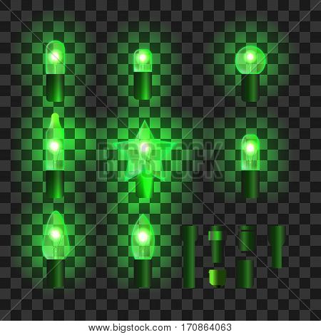 Set of green shining garland lights with holders isolated on transparent background. Christmas, New Year party decoration realistic design elements. Glowing lights for Xmas. Holiday greeting design.