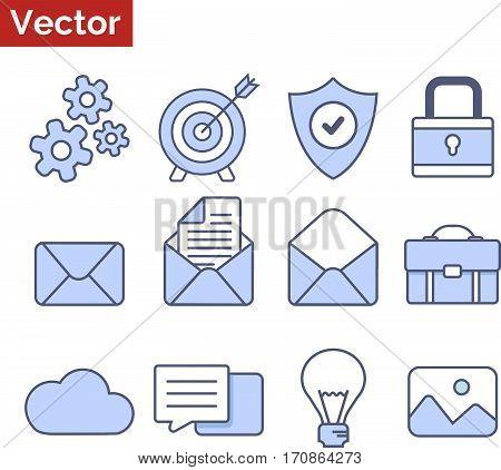 Blue stylish icons set - office tools, flat style illustration