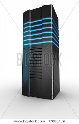 3d rendering of a futuristic server on a white background