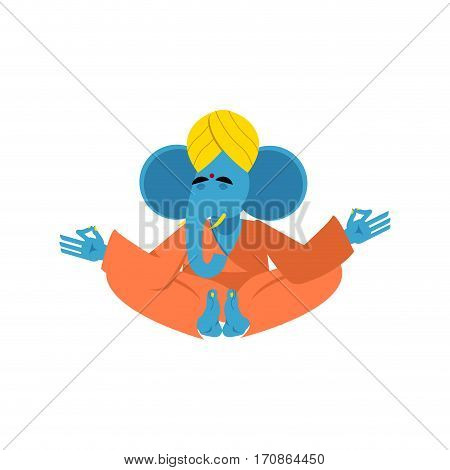 Sacred Elephant In India. Ganesha Hindu God Of Wisdom And Prosperity. Animal Yoga. Lotus Pose. Zen A
