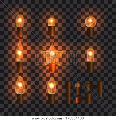 Set of orange shining garland lights with holders isolated on transparent background. Christmas, New Year party decoration realistic design elements. Glowing lights for Xmas. Holiday greeting design.