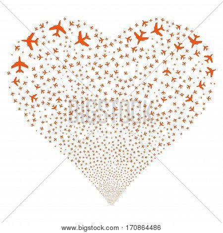 Jet Plane fireworks with heart shape. Vector illustration style is flat orange iconic symbols on a white background. Object salute made from confetti design elements.