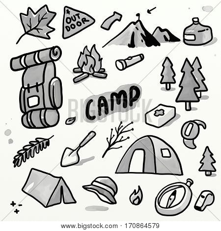 Outdoor camping set. Doodling sketch watercolor illustration