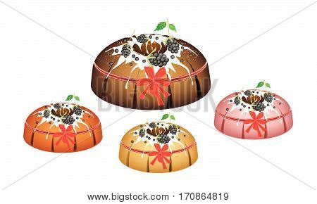Illustration Set of Bundt Cake or Traditional Big Round Cake with Hole Inside Mirror Glaze Coating and Cherries for Holiday Dessert Isolated on White Background.