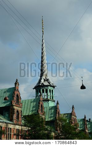 A view of the rooftop spire on the former Copenhagen stock exchange building