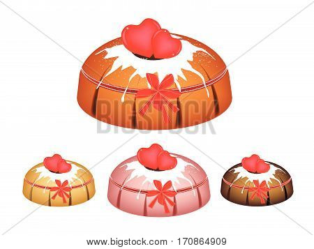 Illustration Set of Valentine Bundt Cake or Traditional Big Round Cake with Hole Inside Mirror Glaze Coating and Two Heart Chocolate for Valentine Dessert Isolated on White Background.