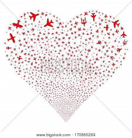 Airplanes fireworks with heart shape. Vector illustration style is flat red iconic symbols on a white background. Object love heart constructed from scattered design elements.
