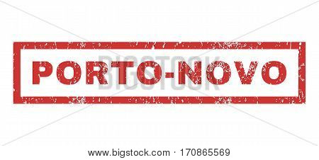Porto-Novo text rubber seal stamp watermark. Tag inside rectangular shape with grunge design and dust texture. Horizontal vector red ink emblem on a white background.