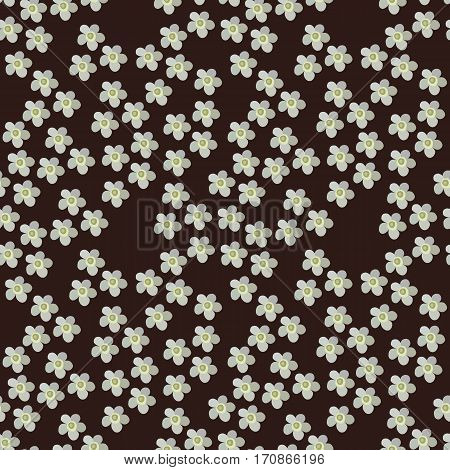 Seamless vector floral pattern on dark brown background. Yarrow.