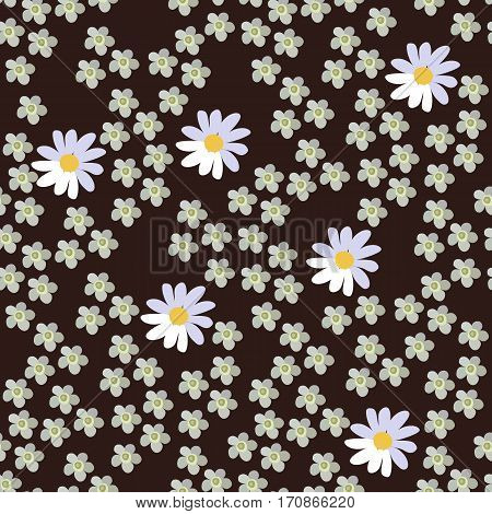 Seamless vector floral pattern on dark brown background. Daisies and yarrow.