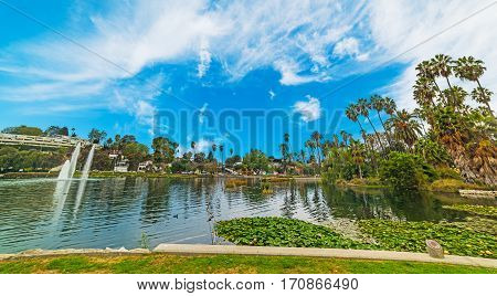Clouds over Echo park in Los Angeles, California