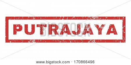 Putrajaya text rubber seal stamp watermark. Caption inside rectangular banner with grunge design and dust texture. Horizontal vector red ink emblem on a white background.
