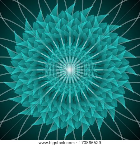 Green circle star shape with optical art effect flourish object on dark green background vector decoration. Abstract green image jagged flower pattern in fractal style with 3d effect.