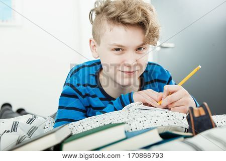 Contented Young Teenager Doing His Studies