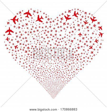 Jet Plane fireworks with heart shape. Vector illustration style is flat red iconic symbols on a white background. Object stream made from random design elements.