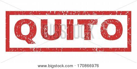 Quito text rubber seal stamp watermark. Tag inside rectangular banner with grunge design and dirty texture. Horizontal vector red ink emblem on a white background.