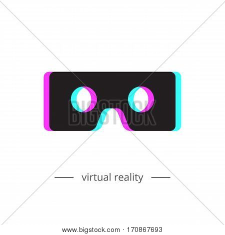 Virtual reality glasses icon. Chromatic aberration. Vector illustration