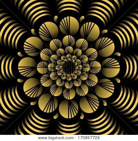 Abstract yellow vector flower patterns in fractal style on black background high contrasting decorative tile with 3d effect vector EPS10