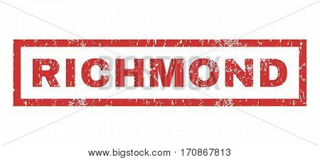 Richmond text rubber seal stamp watermark. Tag inside rectangular shape with grunge design and scratched texture. Horizontal vector red ink sign on a white background.