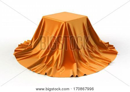 Box covered with orange fabric. Isolated on white background. Surprise, award, prize, presentation concept. Showroom stand. Reveal a hidden object. Raise the curtain. Photo realistic 3D illustration