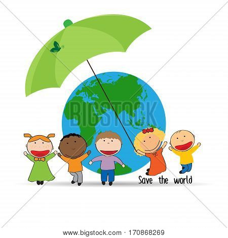 Happy and cute kids with globe abstract drawing